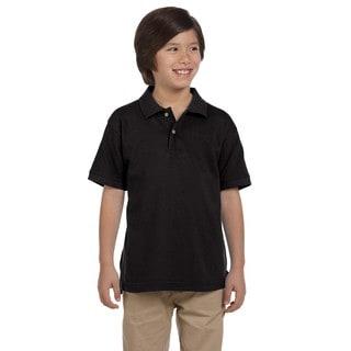 Boys' Ringspun Cotton Pique Short-Sleeve Black Polo