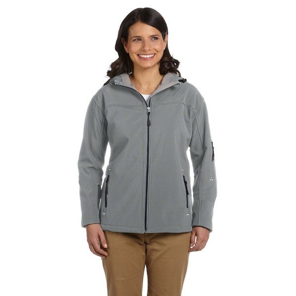 Hooded Women's Soft Shell Charcoal Jacket