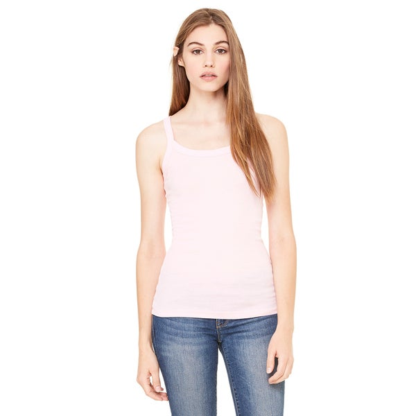 Sheer Women's Mini Rib Thin Strap Pink Tank