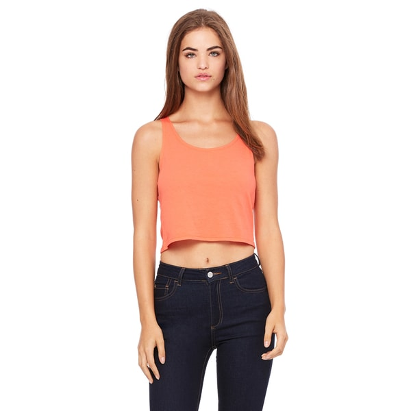 Poly-Cotton Women's Crop Coral Tank