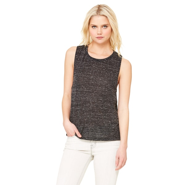 Flowy Women's Black Marble Scoop Muscle Tank