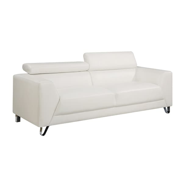 Faux-Leather Contemporary Sofa with Chrome Legs