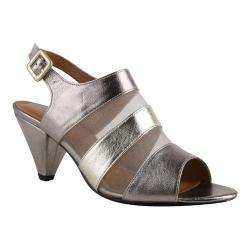 Women's J. Renee Murnane Open Toe Slingback Taupe/Gold Metallic Nappa Leather/Mesh