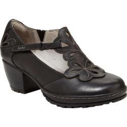 Women's Jambu Waywood T-Strap Heel Black Vintage Leather/Kid Suede