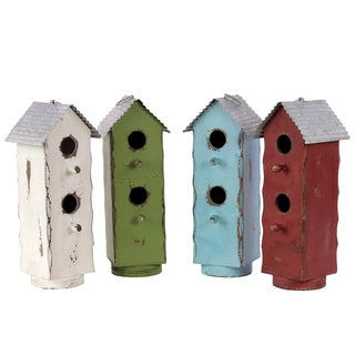 Distressed Multicolored Assorted Wood Bird Houses (Set of Four)