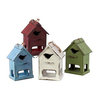 Urban Trends Collection Distressed-finish Wood Bird House with Bird-shaped Hole (Set of 4)