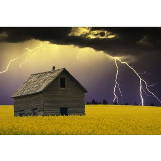 Design Pics 'Abandoned Farm Building with Lightening in the Background' Gallery Wrapped Canvas