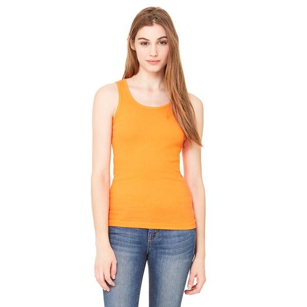 2x1 Women's Orange Rib Tank