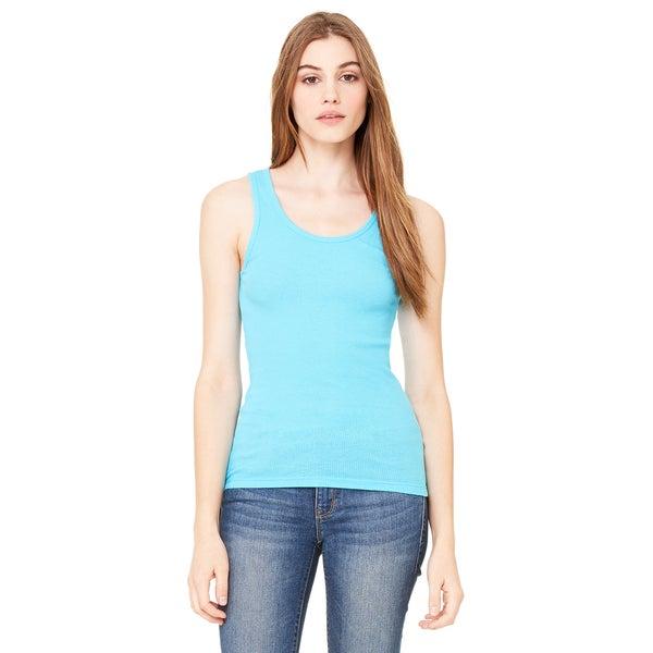 2x1 Women's Turquoise Rib Tank