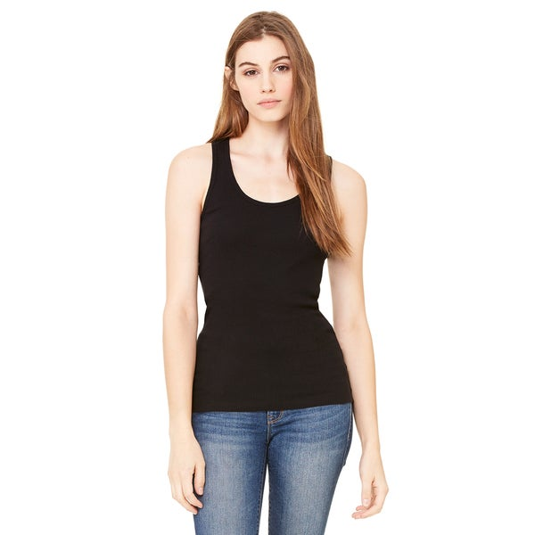 2x1 Women's Rib Racerback Longer Length Black Tank