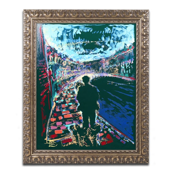 Lowell S.V. Devin 'The Existential Man and His Dog' Ornate Framed Art