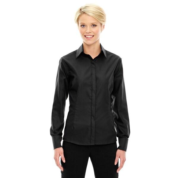 Refine Wrinkle-Free Women's Black 703 Two-Ply 80'S Cotton Royal Oxford Dobby Taped Shirt