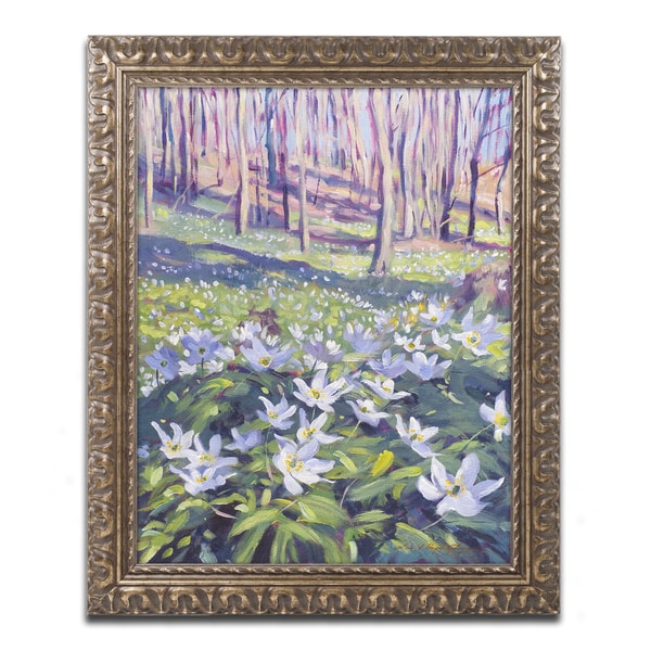 David Lloyd Glover 'Anemones in the Meadow' Ornate Framed Art