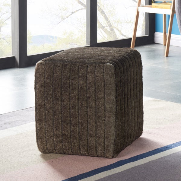 Rhea Faux Fur Ottoman  Overstock Com Shopping Great