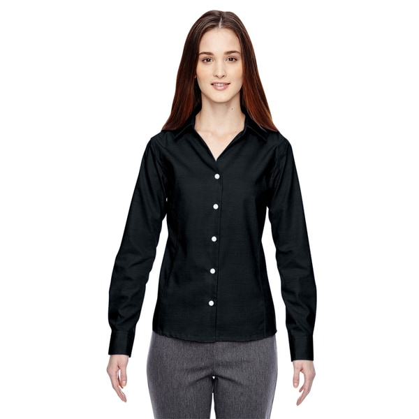 Precise Wrinkle-Free Women's Black 703 Two-Ply 80'S Cotton Dobby Taped Shirt