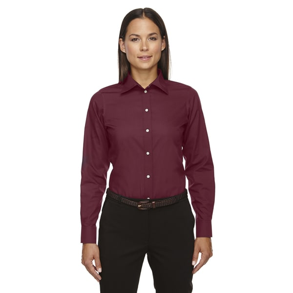 Crown Women's Collection Solid Broadcloth Burgundy Shirt