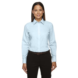 Crown Women's Collection Solid Broadcloth Crystal Blue Shirt
