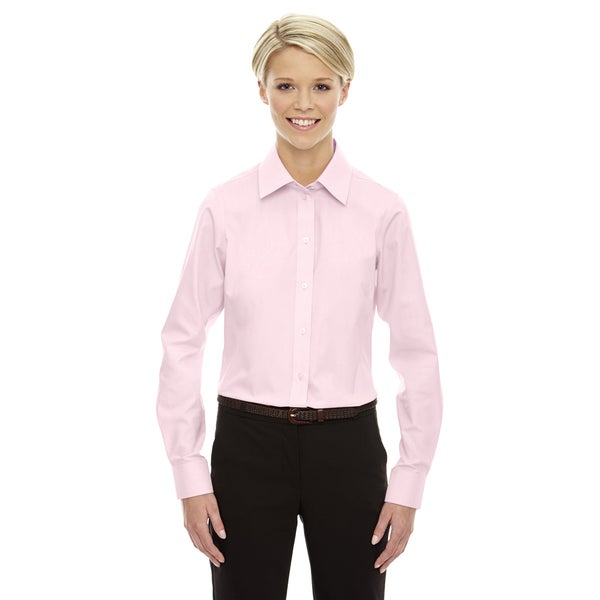 Crown Women's Collection Solid Oxford Pink Shirt
