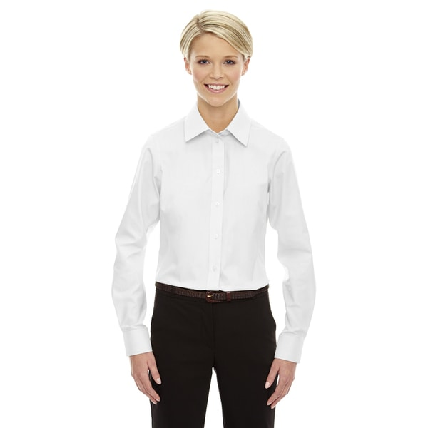 Crown Women's Collection Solid Oxford White Shirt