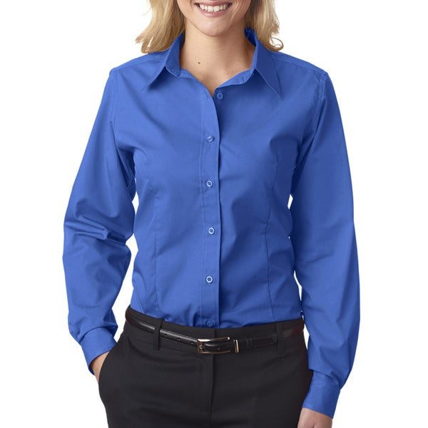 Easy-Care Women's Broadcloth French Blue Shirt