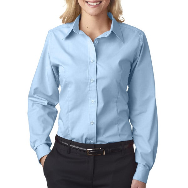 Easy-Care Women's Broadcloth Light Blue Shirt