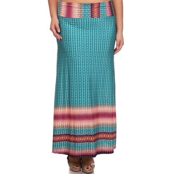 Plus-size Geometric Maxi Skirt