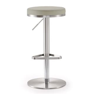 Fano Light Grey Faux Leather Stainless Steel Bar Stool