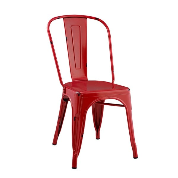 Metal Caf Chair - Red