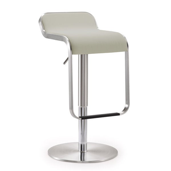 Napoli Light Grey Faux Leather Stainless Steel Bar Stool
