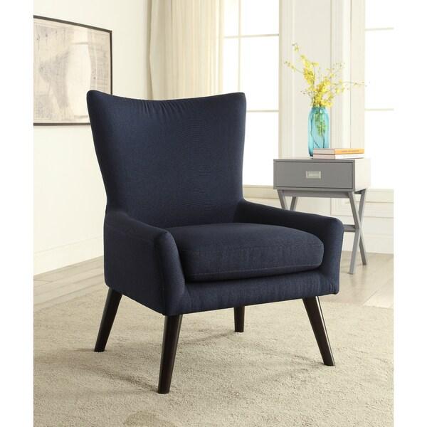 Mid Century Blue High Back Arm Chair