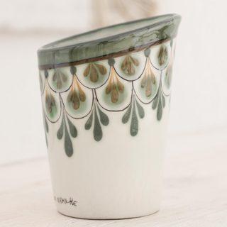 Handcrafted Ceramic 'Rainforest Ferns' Vase (Guatemala)