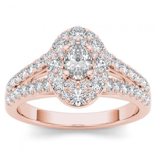 De Couer 14k Rose Gold 1 1/4ct TDW Oval Shape Diamond Halo Engagement Ring (H-I, I2)