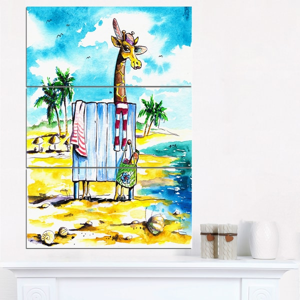 Designart - Giraffe in Dressing Room on Beach - Cartoon Animal Print