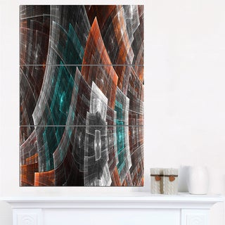 Brown Psychedelic Fractal Metal Grid Art - Abstract Art on Canvas