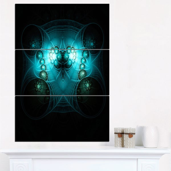 Bright Blue in Black Fractal Flower - Large Abstract Canvas Artwork