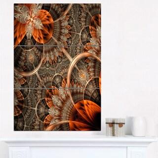 Orange Brown Digital Art Fractal Flower - Large Floral Canvas Art Print