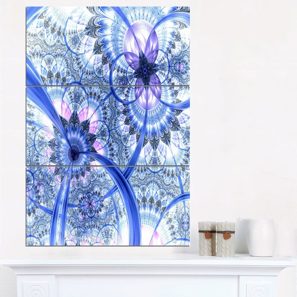 Bright Blue Fractal Floral Pattern - Large Floral Canvas Art Print