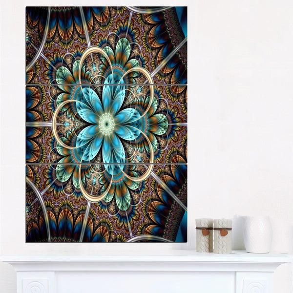 Large Brown Blue Fractal Flower - Large Floral Canvas Art Print