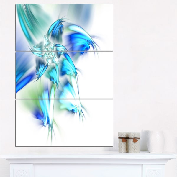Blue and Green Fractal Flower - Large Floral Canvas Art Print