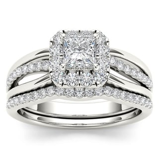 De Couer IGI Certified 14k White Gold 5/8ct TDW Princess-Cut Diamond Frame Bridal Set