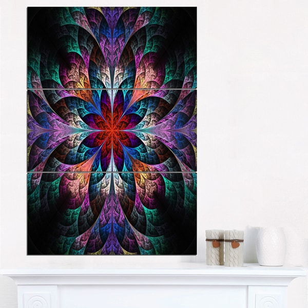 Multi Color Fractal Flower Pattern - Large Floral Canvas Art Print