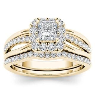 De Couer 14k Yellow Gold 5/8ct TDW Princess-Cut Diamond Frame Bridal Set (H-I, I2)
