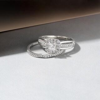 De Couer 14k Rose Gold 5/8ct TDW Princess-Cut Diamond Frame Bridal Set (H-I, I2)