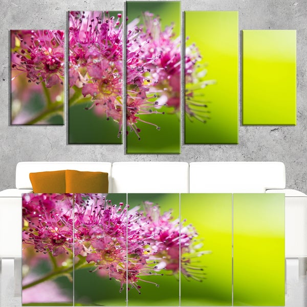Pink Little Flowers in Green - Floral Canvas Art Print