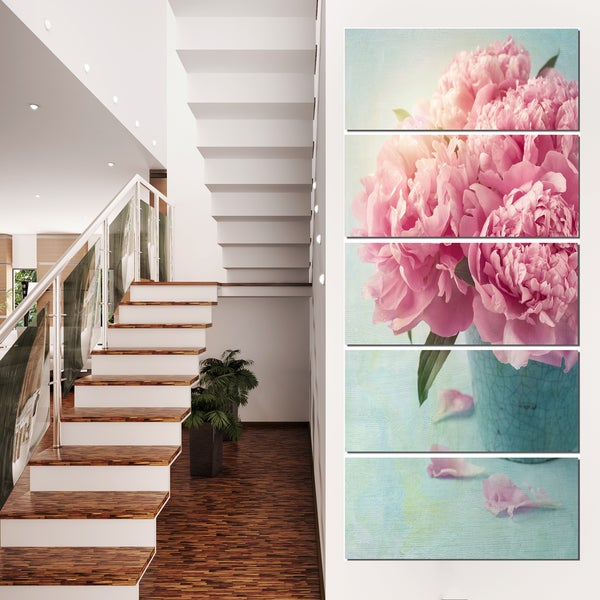 Pink Peony Flowers in Vase - Large Floral Wall Art Canvas