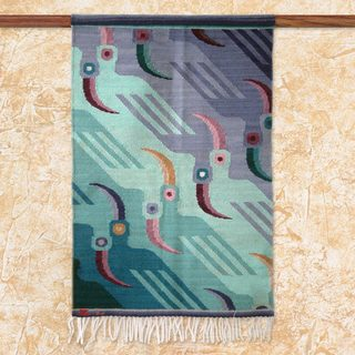 Handcrafted Wool 'Lilac Toucans' Turquoise Lilac Blue Tapestry (Peru)