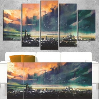 Abstract Sci-fi City Watercolor - Large Photography Canvas Art