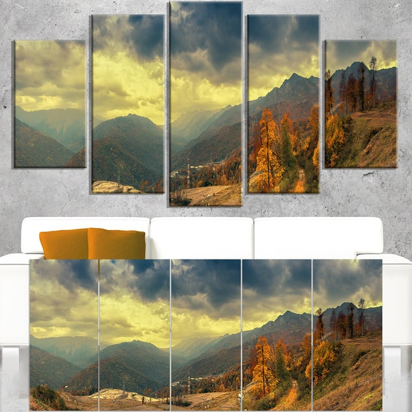 Caucasus Mountains Yellow Panorama - Landscape Artwork Canvas