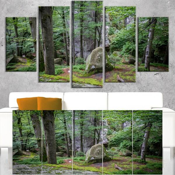 Dense Moss Forest in Green - Landscape Art Print Canvas 19779301