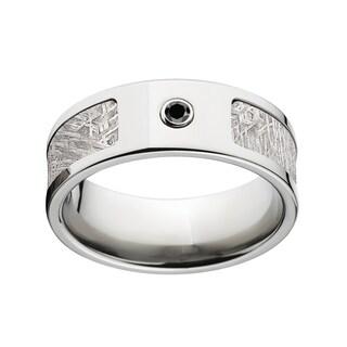 Men's Titanium Diamond 8-millimeter Flat Meteorite Ring